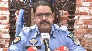 Ataur Rehman addresses a press conference in Islamabad.