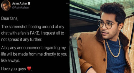 Asim Azhar calls his alleged chat with fan 'fake', says not to spread it further