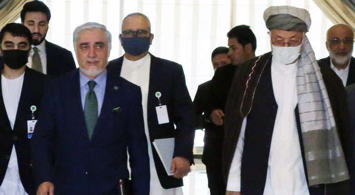 Former president Hamid Karzai and former chief executive Abdullah Abdullah are part of the delegation. Source: Twitter.