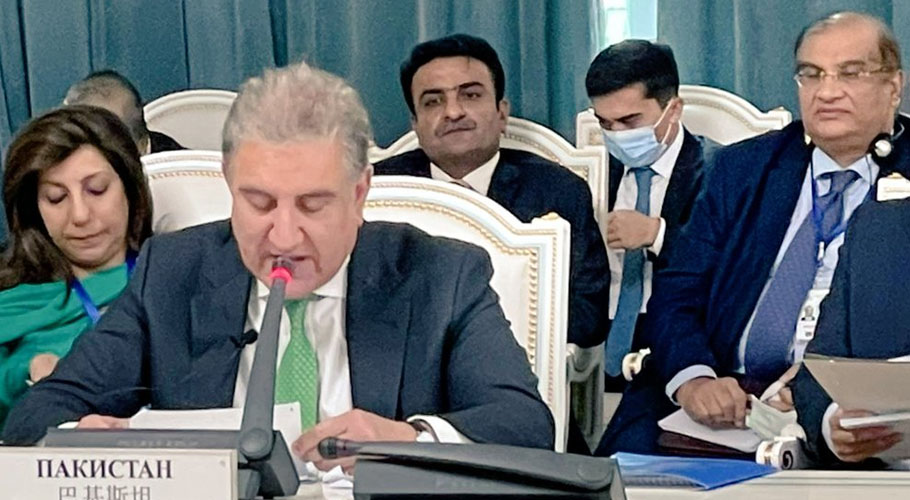 Qureshi was addressing a meeting of the Council of SCO Foreign Ministers in Dushanbe. Source: Twitter.