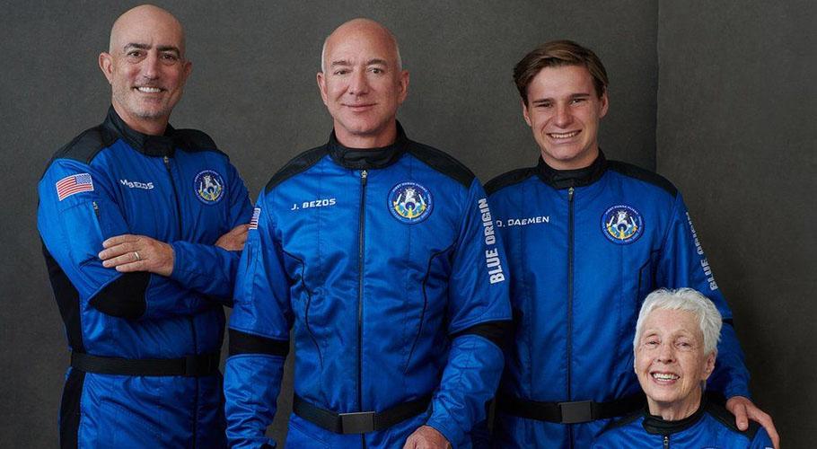 Jeff Bezos soared some 66.5 miles aboard his company Blue Origin's New Shepard launch vehicle: Source: BBC