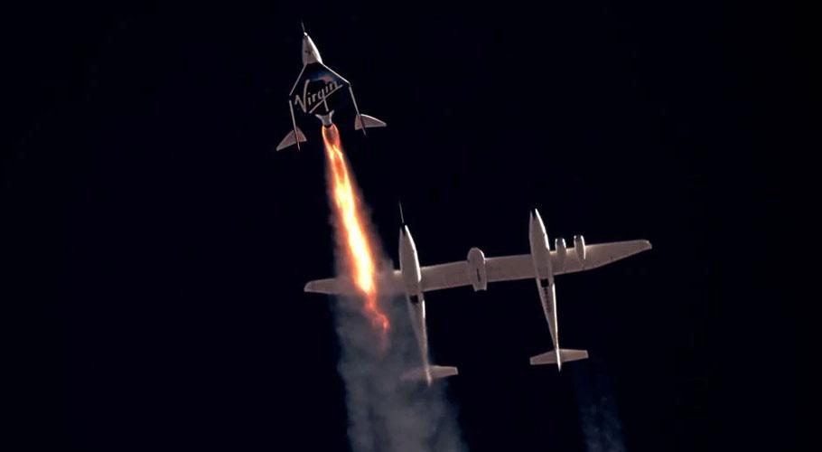 Virgin Galactic's passenger rocket plane VSS Unity, carrying Richard Branson and crew. Source: Reuters.