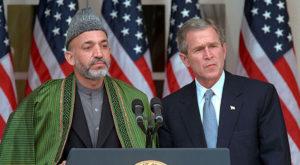 United States president George W. Bush with Hamid Karzai. Source: Wikipedia