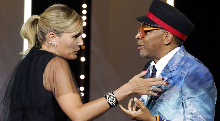 Director Julia Ducournau interacts with Spike Lee, Jury President of the 74th Cannes Film Festival. Source: Reuters
