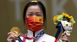 China's Yang Qian won the first gold medal of the Tokyo Olympics. Source: Reuters.