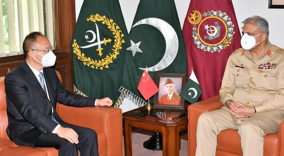 Chinese Ambassador to Pakistan Nong Rong with Chief of Army Staff General Qamar Javed Bajwa. Source: ISPR