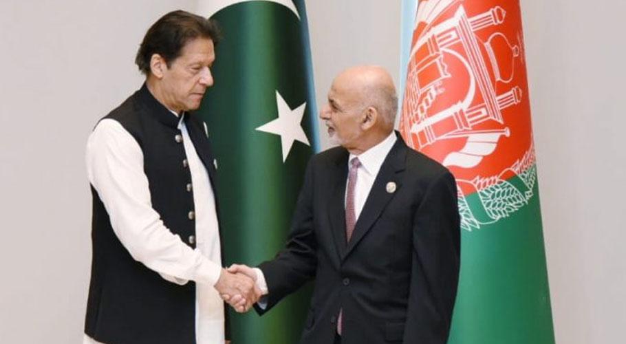 Prime Minister Imran Khan meets Afghan President Ashraf Ghani in Tashkent.