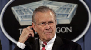 US Secretary of Defense Donald Rumsfeld speaks at a news briefing at the Pentagon. Source: Reuters
