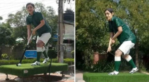 The statue had recently been erected in the Olympian's hometown of Bahawalpur. Source: Geo/Daily Times.