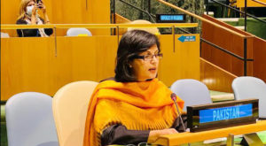SPAM on Poverty Alleviation and Social Protection, Dr Sania Nishtar, addressing high-level political forum on sustainable development in New York. Source: PID