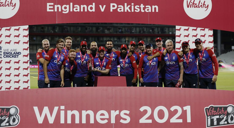England team celebrate winning the match and the series. Source: Reuters.
