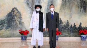 Chinese State Councilor and Foreign Minister Wang Yi meets Mullah Abdul Ghani Baradar, political chief of Afghanistan's Taliban. Source: Reuters.