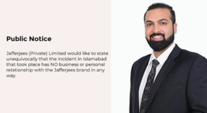 Pakistani famous leather brand 'Jafferjees' has published a statement to disassociate itself from Zahir Jaffer